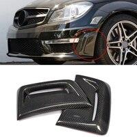 W204 Carbon Fiber Front Bumper Side Air Vent decoration sticker for Mercedes Benz W204 C63 AMG 2012 2014 Air Insert Vent Cover