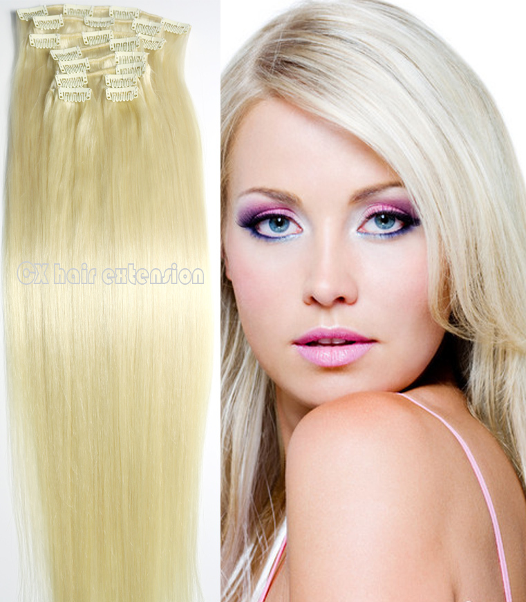#60 Platinum blonde deluxe thick soft remy Brazilian Human Hair Clips In/on Extensions 10pcs Set 120g 140g 160g 180g 200g 220g
