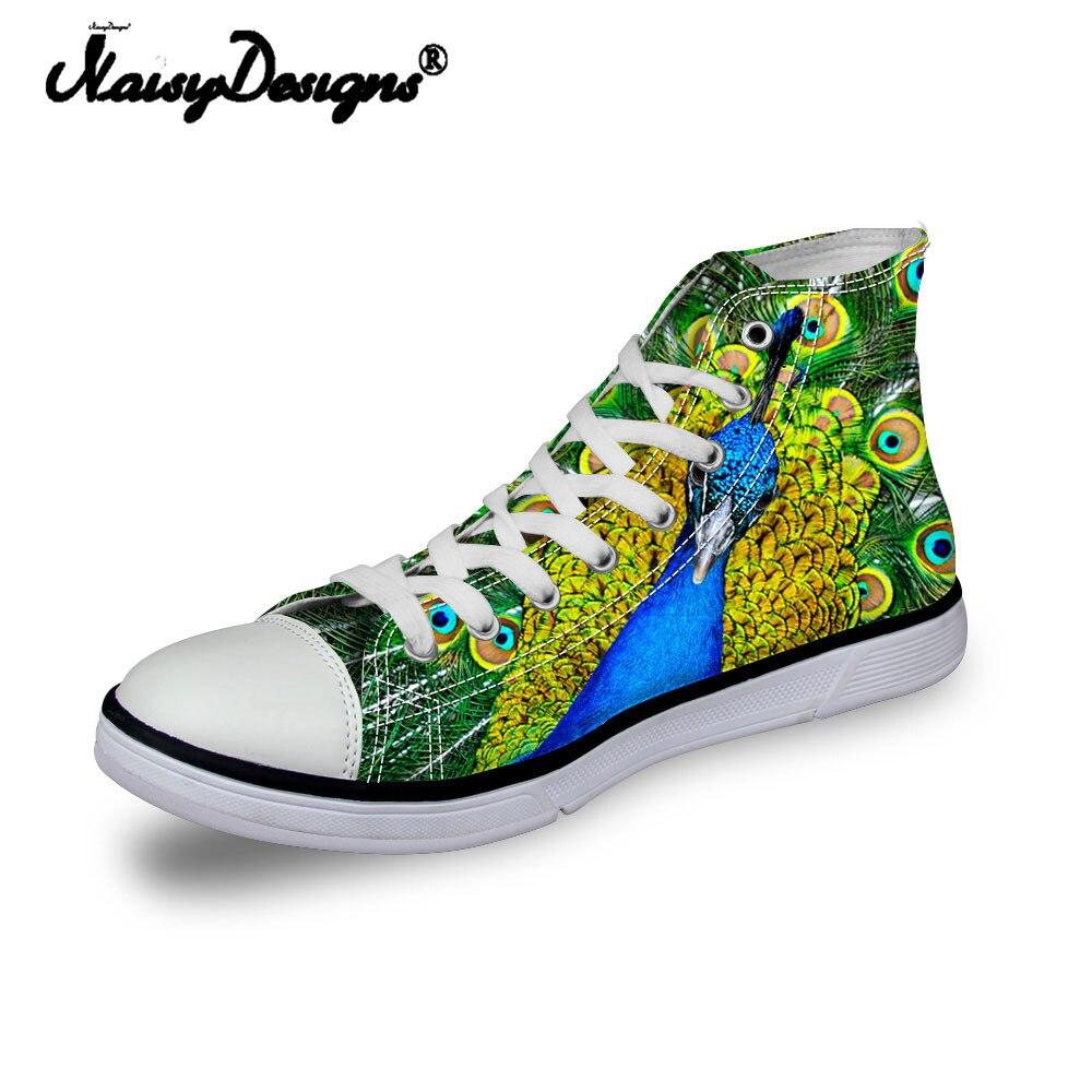Noisydesigns dames vintage baskets hautes filles décontracté chaussures vulcanisées femmes colorées 3D paon impression chaussures en toile plate