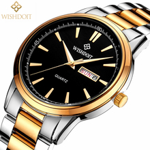 Reloj Hombre WISHDOIT Top Luxury Brand Men Watch Business Casual Fashion Sport Men's Quartz Watch Military Waterproof Male Clock wishdoit men s watchs top luxury brands business sport leisure fashion men quartz watch military male clock high quality leather