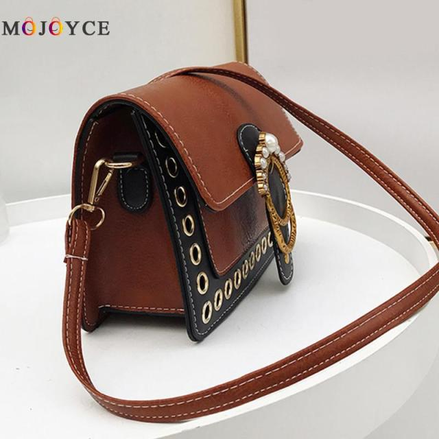 PU Leather Vintage Pearl Women Handbags Retro Sling Shoulder Bag for Girls Casual Female Crossbody Bag 2
