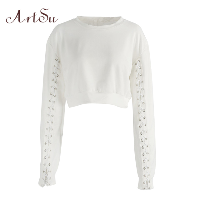 a64c7d7df6 ArtSu Lace up Long Sleeve Cropped Hoodie White Sweatshirt Bts Pullover  Sudadera Mujer Hoodies for Women Crop Top ASHO20045