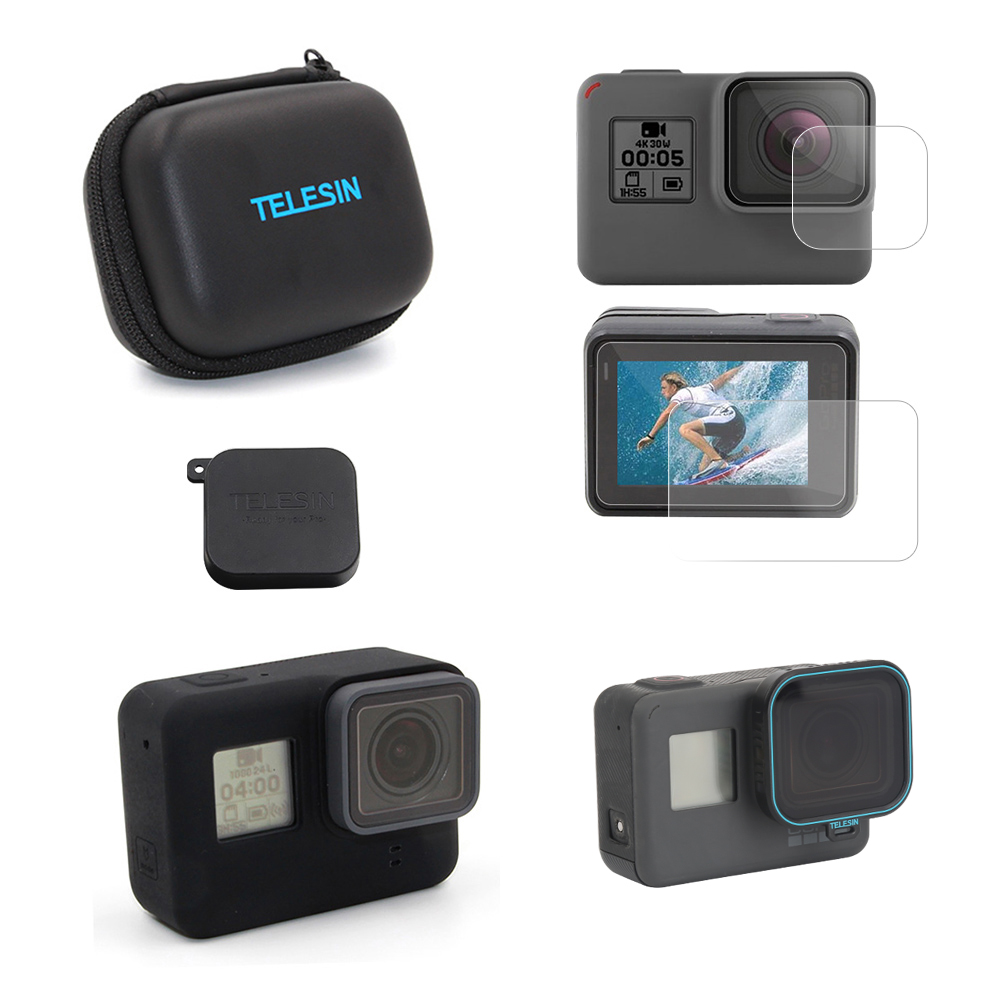TEELSIN Mini Camera Case, Screen Lens Film, Lens Cover, Frame Case, CPL Lens Filter 5 Pack Accessories Set for GoPro Hero 6 5 orbmart 6 pcs every 2 pieces lens cap cover case glass lens and screen protector film for gopro hero 5 6 7 black camera
