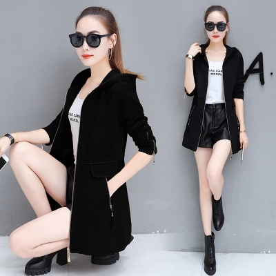 Fashion women's long coat Slim female spring and autumn spring new women's Korean version of the wild thin hooded leisure trend 28
