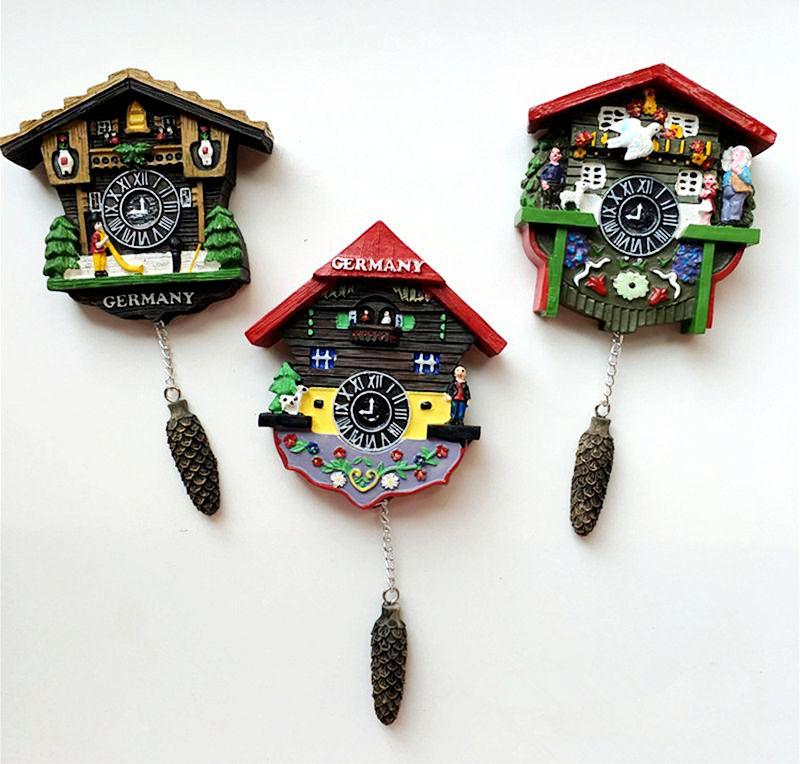 Main Peint Allemagne Coucou Horloge 3D Réfrigérateur Aimants Tourisme Souvenirs Réfrigérateur Magnétique Autocollants Décoration de La Maison