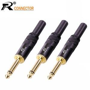 Image 1 - 10 sztuk/partia 2 polak 6.35mm wtyczka mono ze sprężyną pozłacane 1/4 Cal męskie złącze mikrofon 6.3mm złącze drutu hurtowni