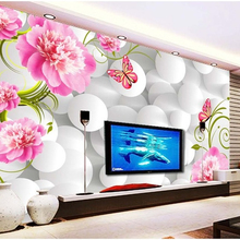 Photo wallpaper Peony seamless stereoscopic 3D TV backdrop w