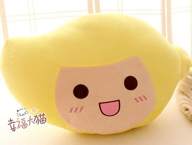 Candice guo plush toy stuffed doll funny fruit shape happy yellow mango pillow cushion children birthday gift christmas present