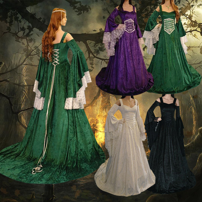 Women Vintage Renaissance Princess Gothic Dress Floor Length Cosplay Costume Medieval Retro Gown Women Tunic Long Dress Plus Siz