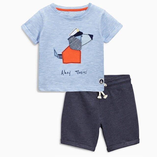 New 2017cartoon dog summer bebe clothes children clothing sets school 2 pieces striped t-shirt+shorts nex cotton boys costume