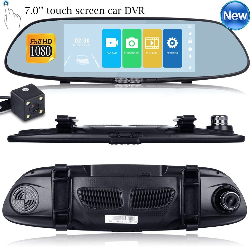 7 Touch Screen car dvr camera rearview mirror auto dvrs dual lens recorder registrator Full HD 1080p night vision dash cam цена