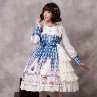 2019 New Women Autumn Blue Long Sleeves Cookie Rabbit Printing Ruffles Cute Bowknot Sweet Lolita Dress Wholesale Free Shipping