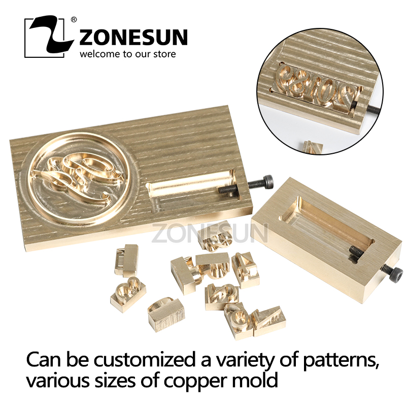 ZONESUN Logo Carving Tools Embossing flexible Branding Personalized letter Mold for wood custom iron parts brass leather stamps applicatori di etichette manuali