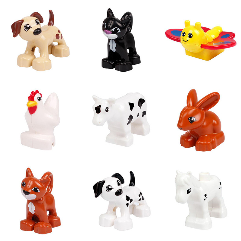 Cute Animal Forest Farm Ocean Models Duploe Figures Compatible with font b Toy b font DIY