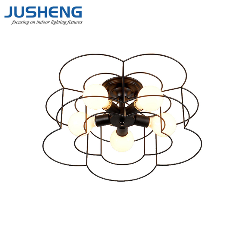 JUSHENG Iron Ceiling Lights for Living Room Vintage Industrial Loft Nordic Ceiling Lamps for Home Lighting Fixtures E27