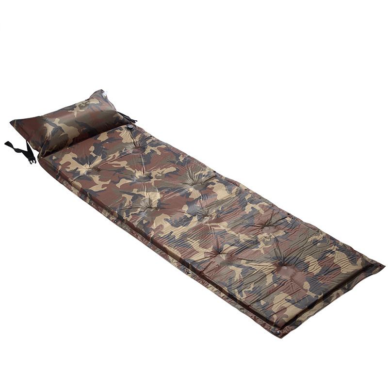 Outdoor Camping Camouflage Automatic Inflatable Mattress One Person Self-Inflating Moistureproof Camp Hike Tent Mat with Pillow outdoor camping green blue splicing automatic inflatable mattress one person self inflating moistureproof tent mat with pillow