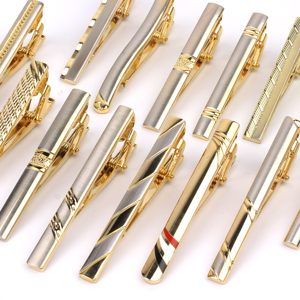 Goldren Tie Clip For Men Classic Meter Tie Clips Alloy Tie Bar Quality Enamel Tie Collar Pin Crystal Business Corbata
