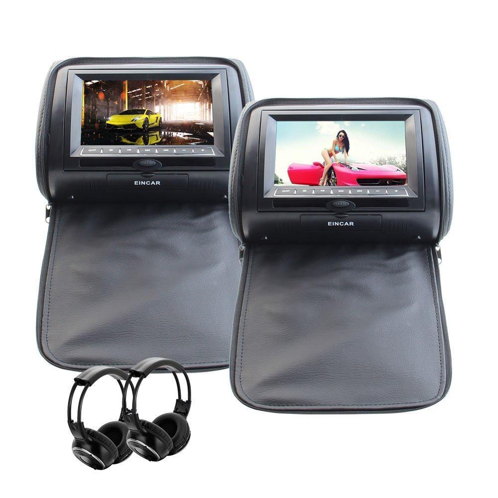 2 DVD/USB/SD Car Headrest Monitors LCD Display Digital