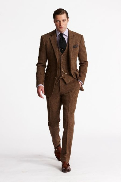 2018 Latest Coat Pant Designs Brown Tweed Men Suit Slim Fit 3 Piece Tuxedo Custom Style Groom Blazer Prom Suits Terno Masculino