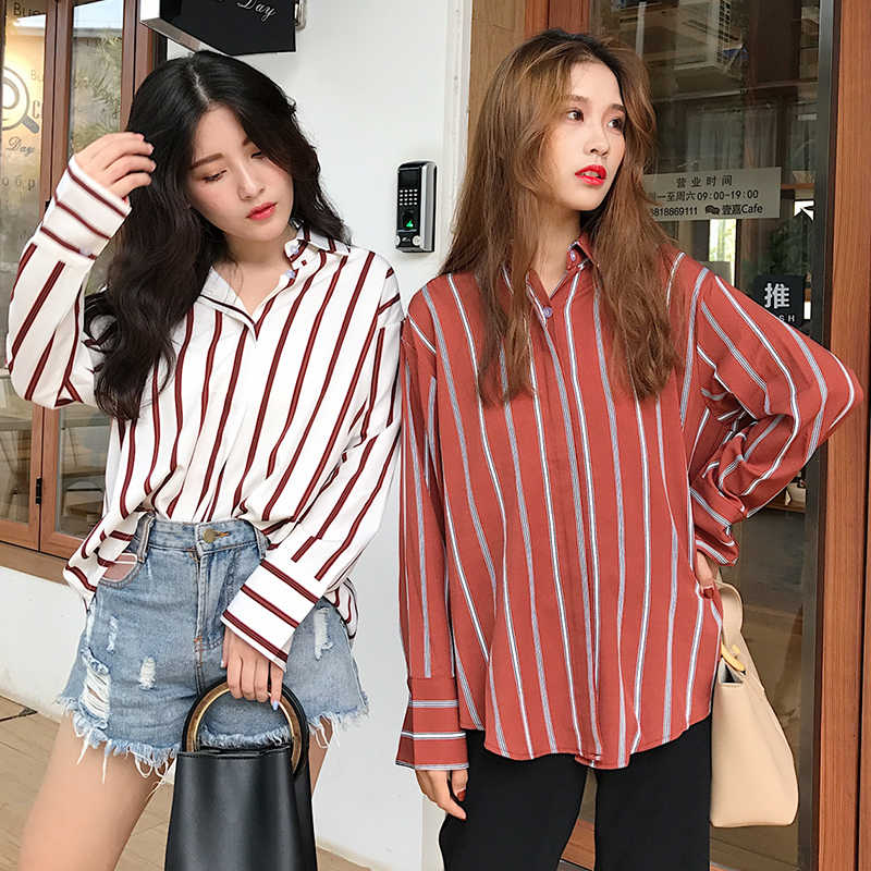 6a109a88 Fashion Womens Blouses 2018 Spring Autumn Korean Ulzzang Harajuku Vintage Striped  Long Sleeve Blouse Women Casual