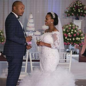 Image 4 - Кружевное Свадебное платье русалки с большим шлейфом в африканском стиле, размер плюс, 2020