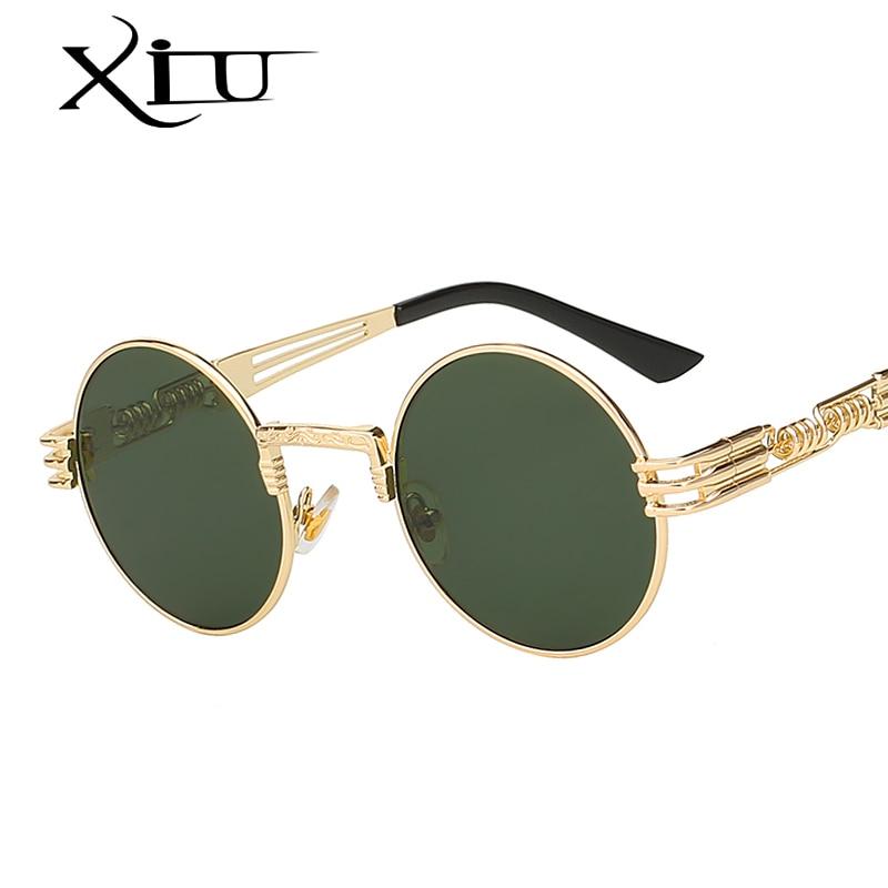 XIU Classic Vintage Steampunk Occhiali Da Sole Uomo Donna Rotonda Occhiali Da Sole In Metallo Brand Design Moda di Alta Qualità Occhiali Oculos UV400
