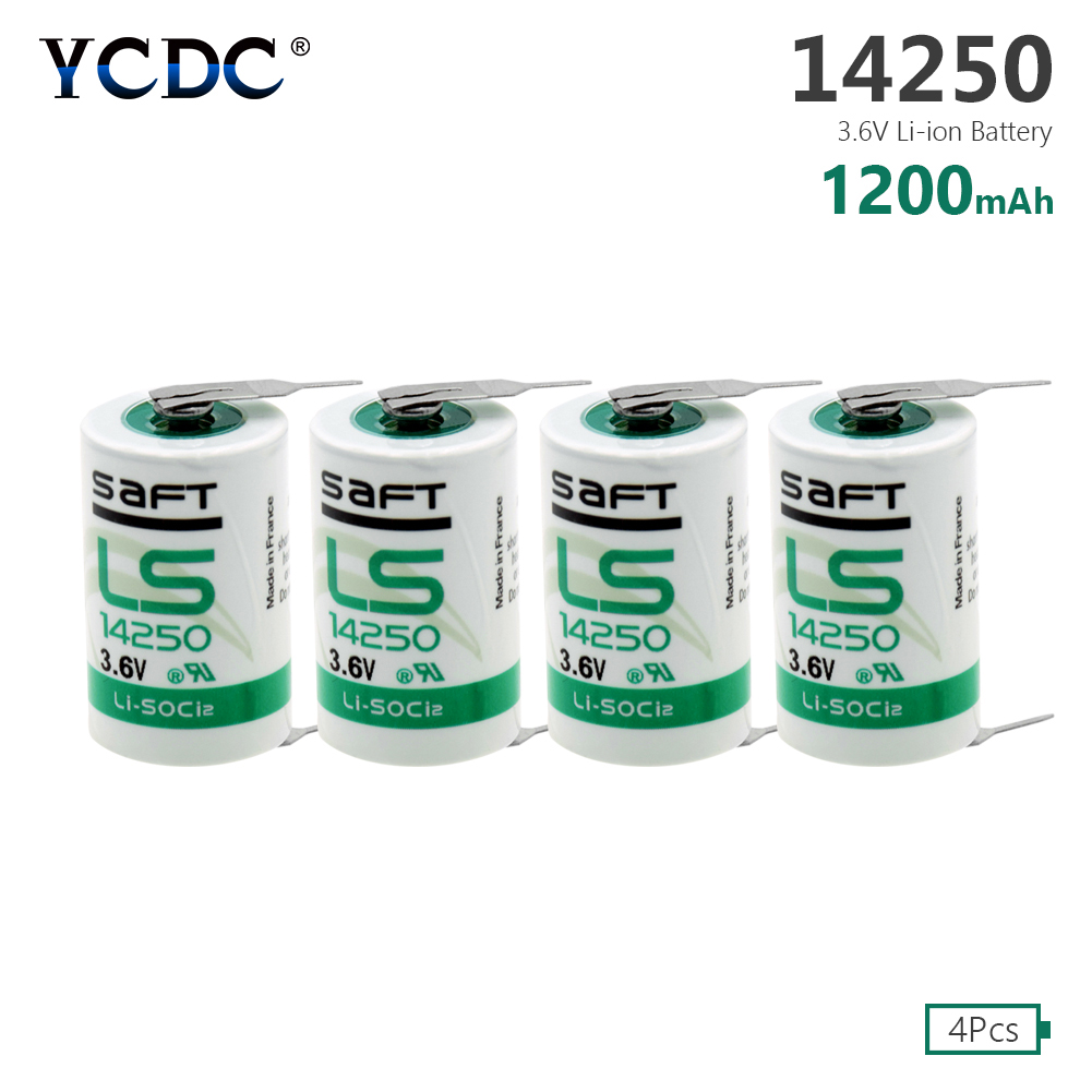 4 Pieces 3.6 V <font><b>1/2AA</b></font> Size 14250 Li-SOCl2 14250 LS-14250 <font><b>Battery</b></font> With Soldering Pins For Measuring Instruments CNC Machine Tools image