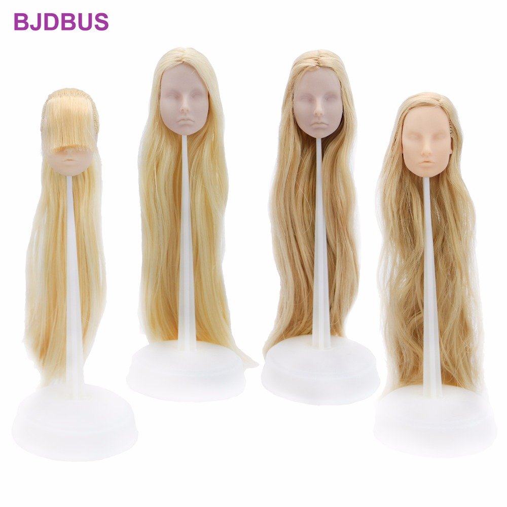 1 PCS High Quality Doll Head Without Makeup DIY Practice White Skin With Light Blonde Long Hair Accessories For 1/6 Doll Gifts 25 28cm head blonde dark brown doll hair for handmade doll hair for homemade cloth toy diy dolls 18 inch doll hair repair 006