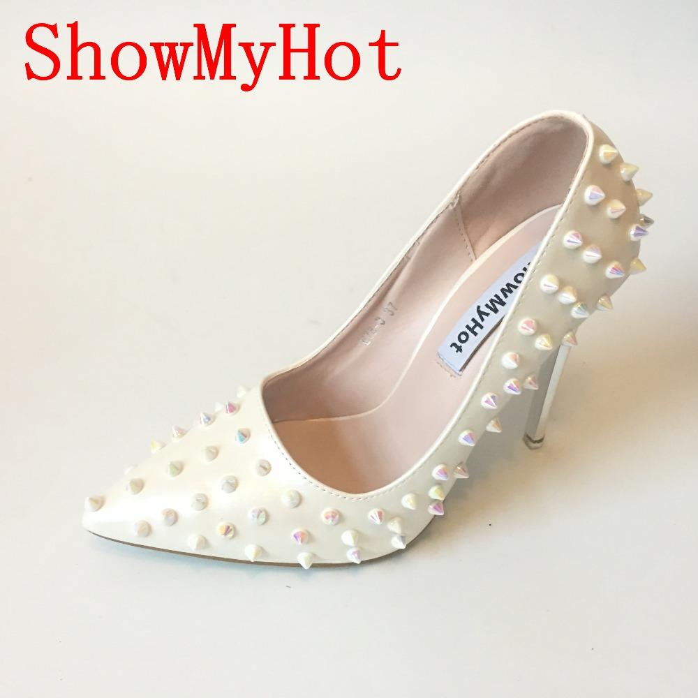 ShowMyHot multi colored high heels Shoes Pointed Toe Women Pumps Rivet Studded For Wedding Party Dress