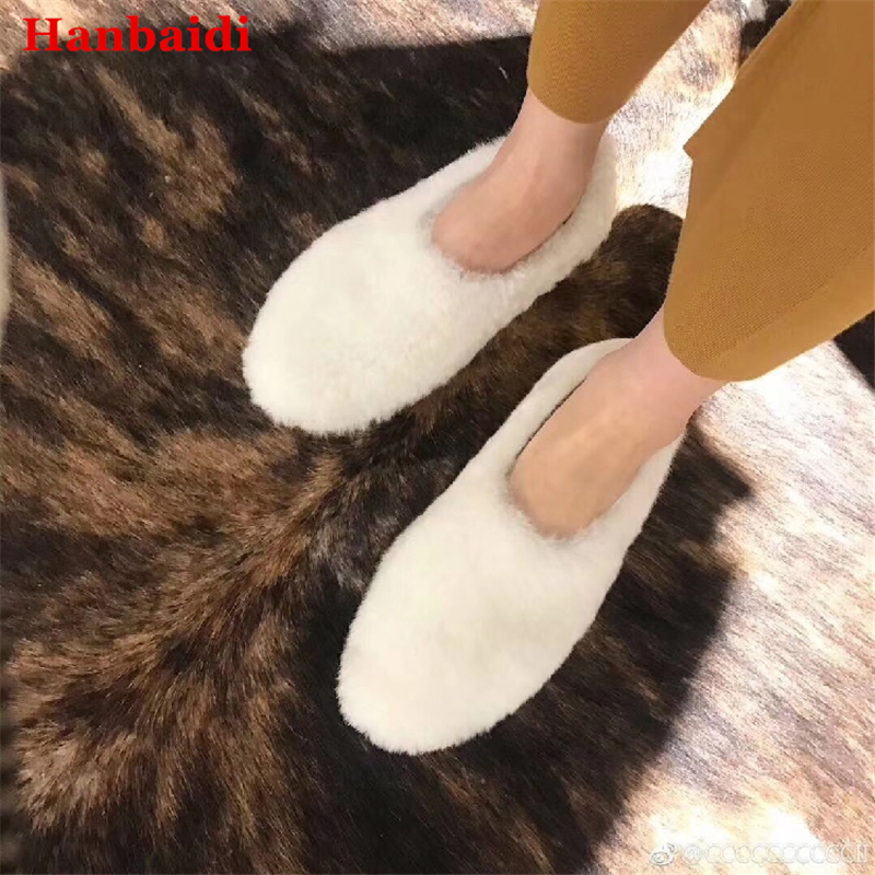 Hanbaidi Winter Wool Fur Flat Shoes Woman Round Toe Slip-on Warm Casual Shoes Women Fashion Snow Boots Ruwnay Style Women Shoes cute women winter snow boots slip on soft fur warm shoes candy color ankle boots woman round toe solid flat biker boots