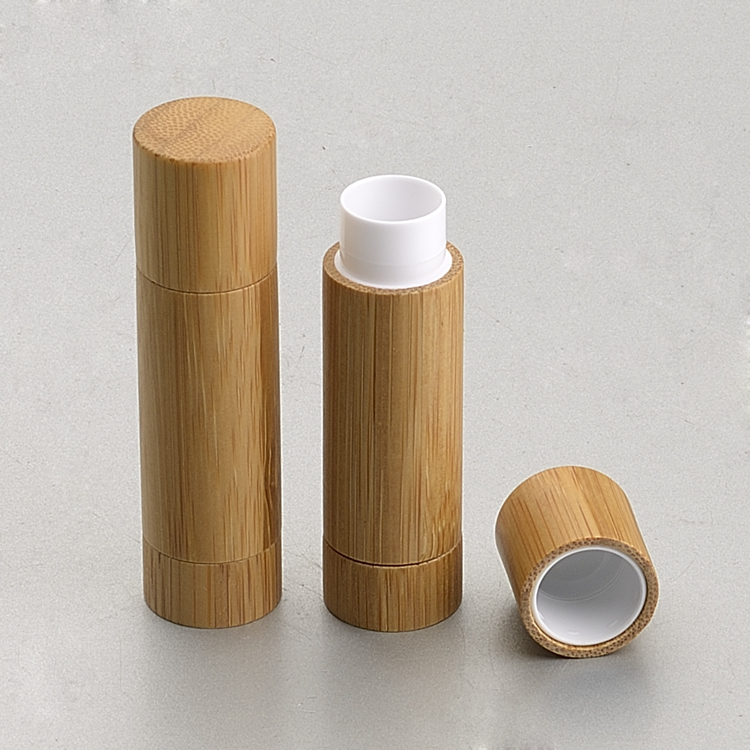 20pcs 5ml Round Natural bamboo lip balm container lipstick tube DIY cosmetic lip gloss bottle makeup