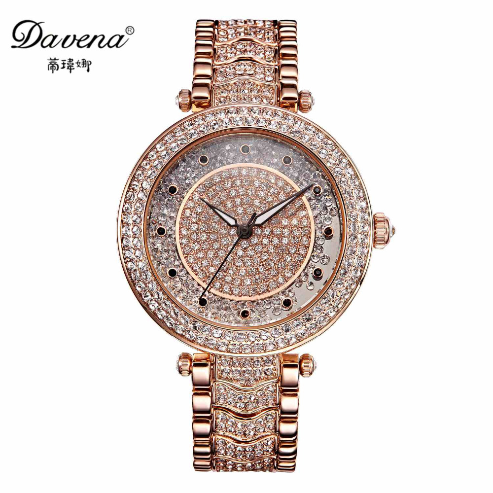 Best Austrian Rhinestone Women Luxury Wristwatch Female Dress Gold Silver Watches Fashion Casual Japan Quartz Watch Davena 60980 binger genuine gold automatic mechanical watches female form women dress fashion casual brand luxury wristwatch original box