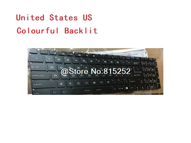 Laptop Keyboard For MSI GT72VR 6RD-059CN GT72VR 6RD-082XCN United States US united states laptop keyboard for msi gt60 gt70 gt780 gt783 gx780 black frame small enter backlit win8 us new notebook keyboards