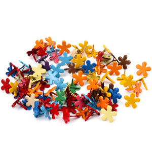 20Pcs Mixed Flower Brads Fastener Embellishment Studs Spikes For Clothes Metal Brads Crafts DIY 14x13mm