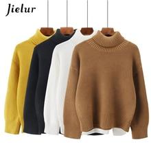 Jielur 5 Color sólido blanco negro suéter mujeres Chic Turtleneck Warm Jumpers  señoras coreano elegante breve 52f8329f2e56
