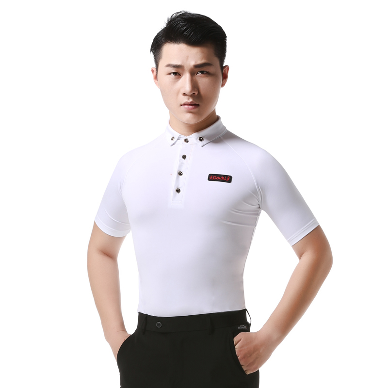 Men's Adult Latin Dance Practice Tops Black White Modern Dance Costumes Male Shirt Standard Ballroom Waltz Dancing Wear DL3397