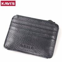 KAVIS Genuine Leather Credit Card Holder Wallet Men Women ID Case Card Driver Coin Purse Male