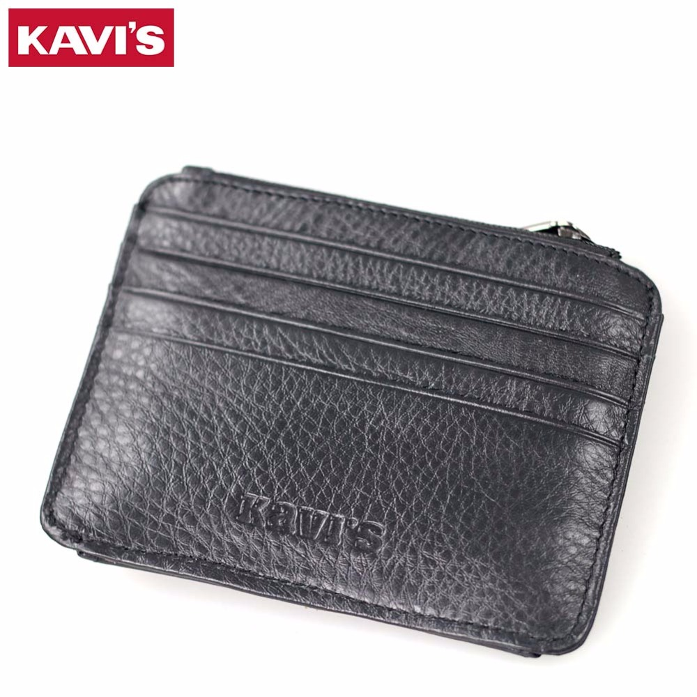 KAVIS Genuine Leather Credit Card Holder Wallet Men Women ID Case Card Driver Coin Purse Male Small Zipper & Hasp Black