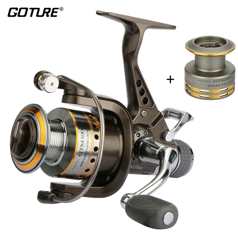 Goture Brand GTM3000 Spinning Fishing Reel 7 + 1Balls 5.0: 1 Reel Fishing Carp Carrete Max Drag 12.5 KG Rueda de pesca con doble freno