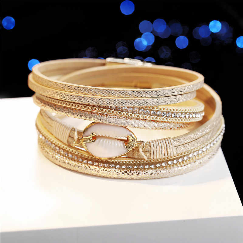 17KM Shell Leather Bracelets For Women Multiple Layers ...