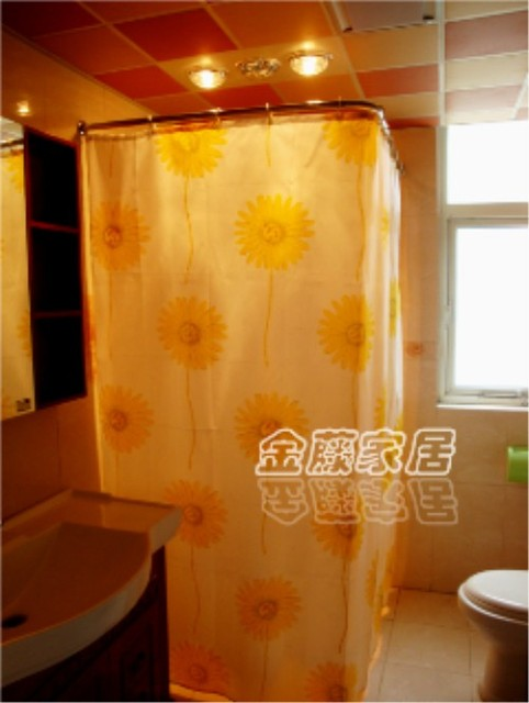 304 Stainless Steel Tub Right Angle L Shaped Curved Type U Shower Curtain Rod Alloy Fittings 95