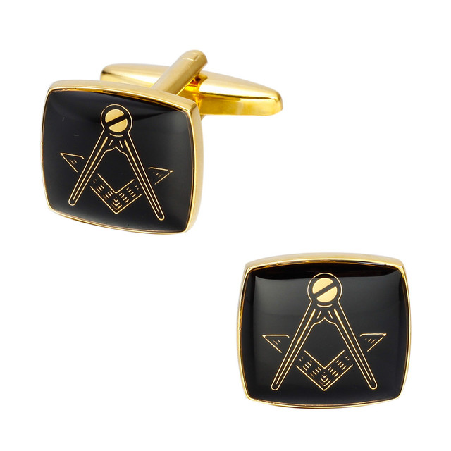 Memolissa Gold Square Cufflinks Masonic Mens Shirt