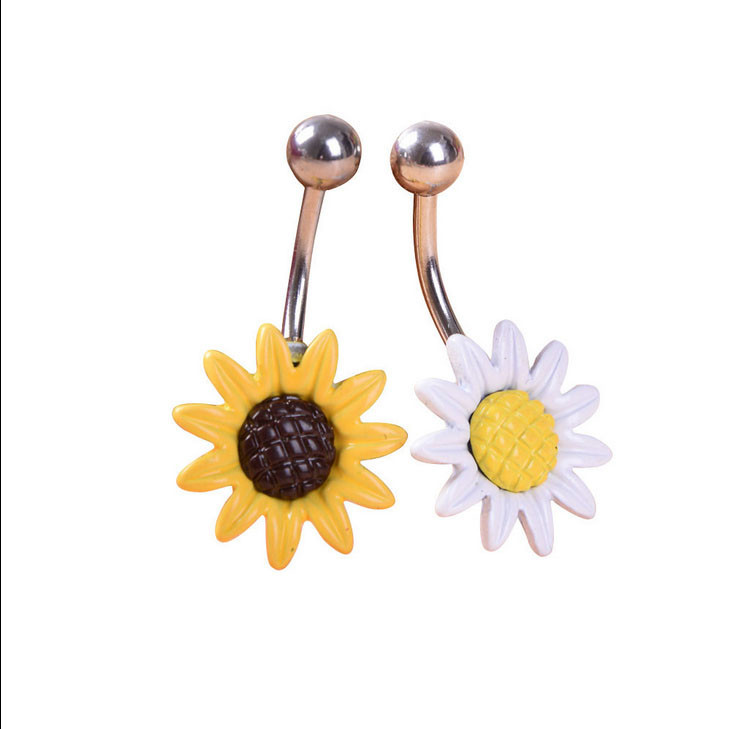 HTB1WPeYIVXXXXaeXpXXq6xXFXXXP Stainless Steel Sun Flower Belly Button Ring - 2 Colors
