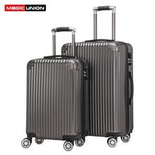 "Купить с кэшбэком MAGIC UNION 20""24"" inch PC Rolling Luggage Travel Suitcase Aluminum Spinner Trolley Suitcase on Wheels Student Travel Bags"