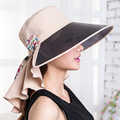 2016 por Tiempo limitado Cappelli Dom Sombrero de Verano A Caballo Por Uv Corea Grandes Aleros Playa Patchwork Adulto Femme Chapeau Sombreros para Las Mujeres
