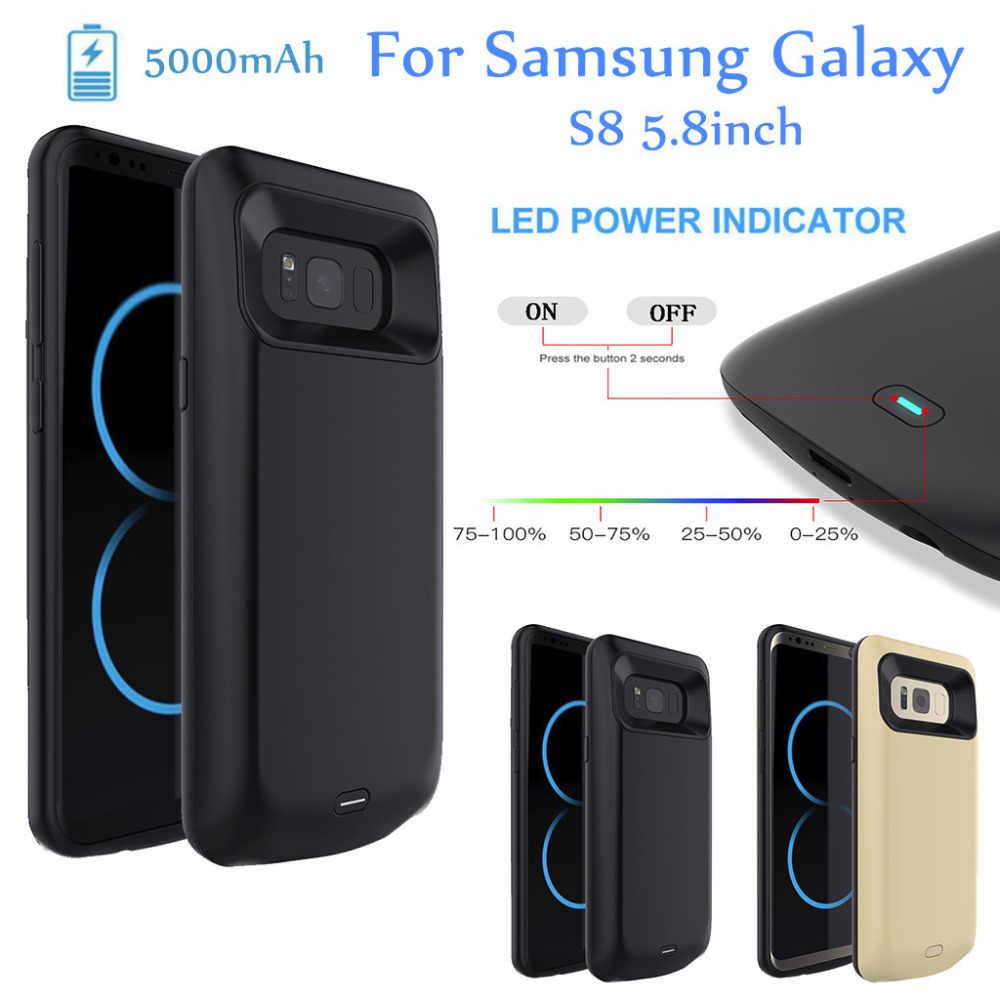 5000 mah bateria estendida caso telefone capa de carregamento para samsung galaxy s8 5.8 polegada bateria recarregável externo protetora