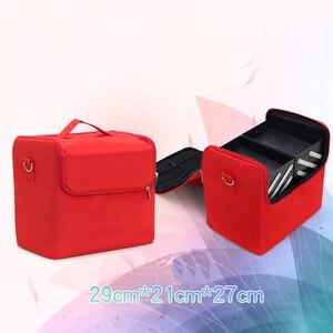 Image 3 - Valise professionnelle pour boîte de maquillage, trousse de rangement pour maquillage et cosmétiques à fermeture éclair à mallette de rangement pochettes, trousse de toilette et de beauté