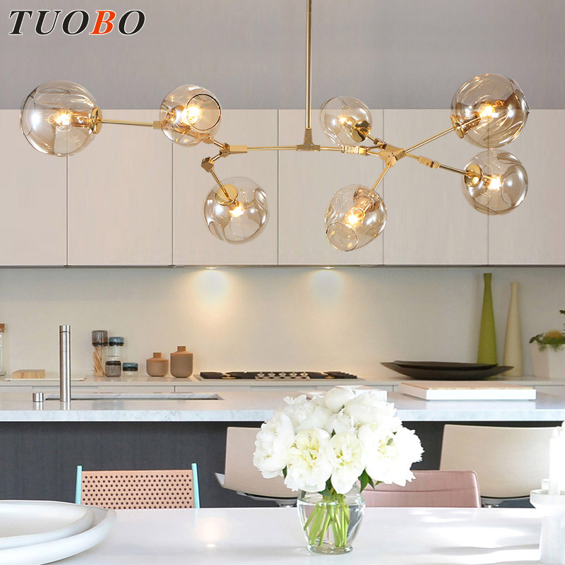 ФОТО 1/2/3/5/7/9 heads Loft Pendant Lights Black Gold Bar Stair Dining Room Glass Shade suspension luminaire Pendant Lamp Fixtures