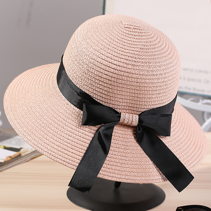 51a66a78a4a9d 2018 Shade Caps Sun Hat Ribbon Round Flat Top DIY Straw Beach Panama Hat  Summer Hats For Women Straw Hats Snapback Gorras-in Sun Hats from Apparel  ...