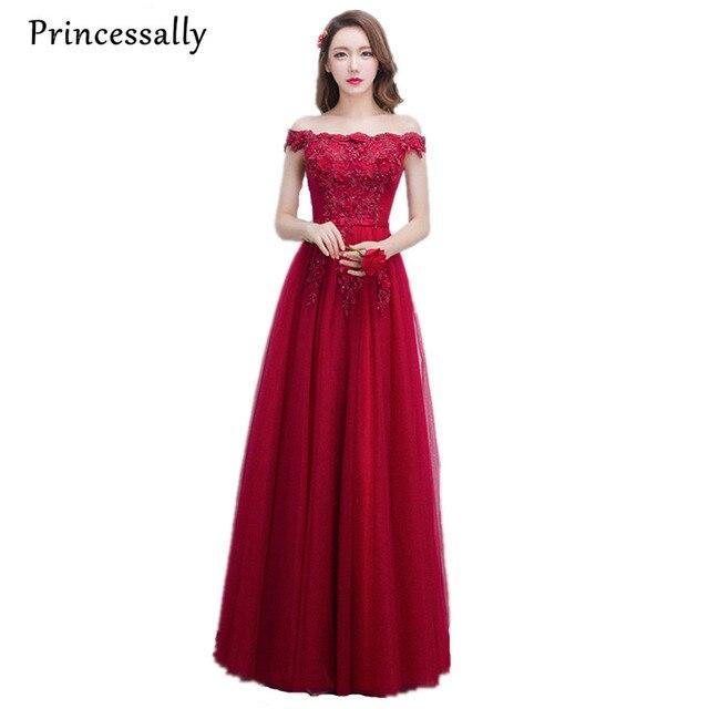 2b6f790ff93 2017 Nuevo vestido de noche rojo vino Sexy cuello barco apliques cuentas  flor elegante novia matrimonio
